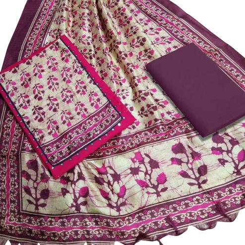 Lovely Pink Colored Casual Printed Cotton Dress Material