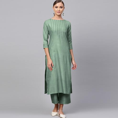 Classy Green Colored Casual Wear Rayon Kurti-Palazzo Set