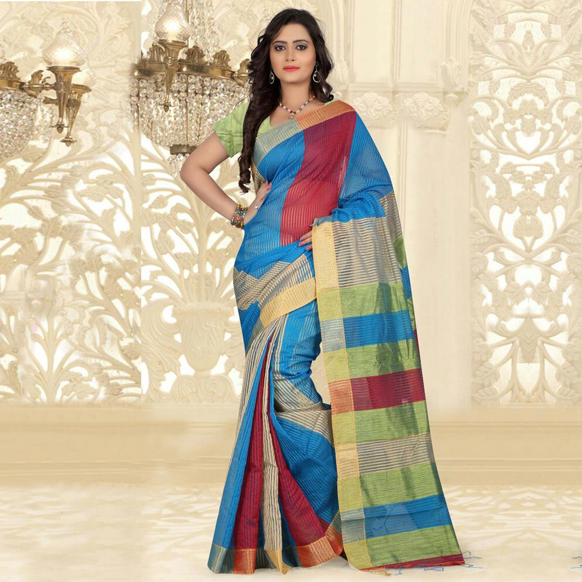 Blue - Red Silk Cotton Saree