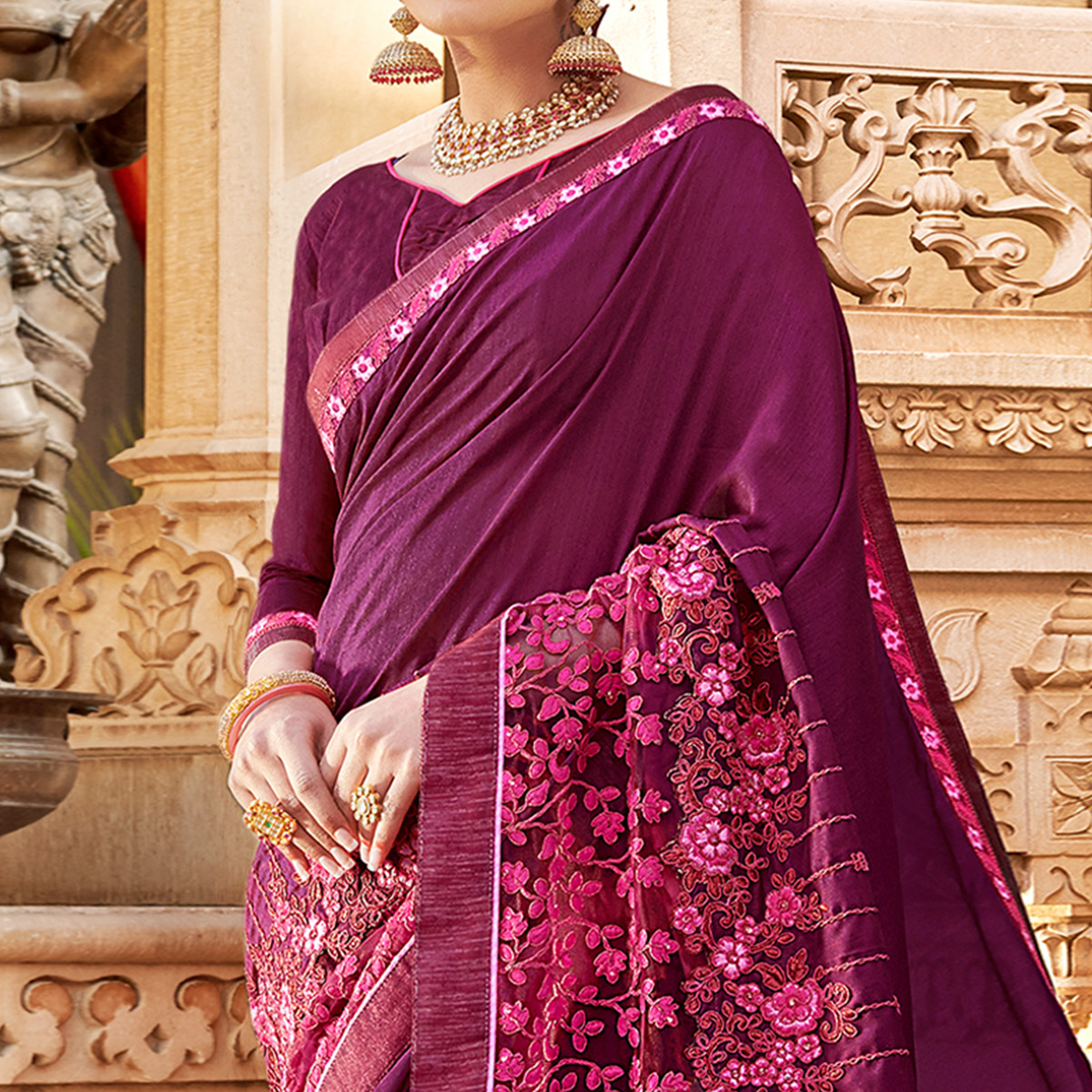 Sophisticated Purple Colored Partywear Embroidered Georgette Saree