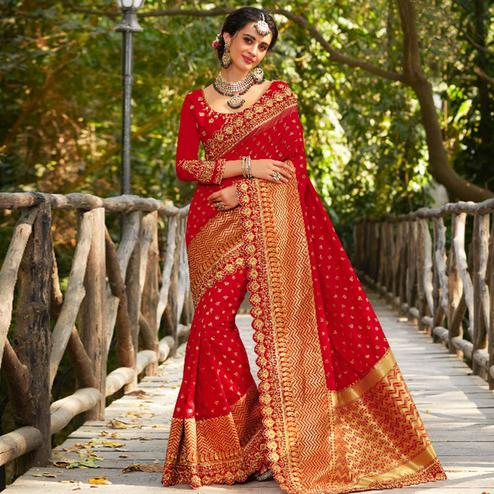Appealing Red Colored Festive Wear Embroidered Banarasi Silk Saree