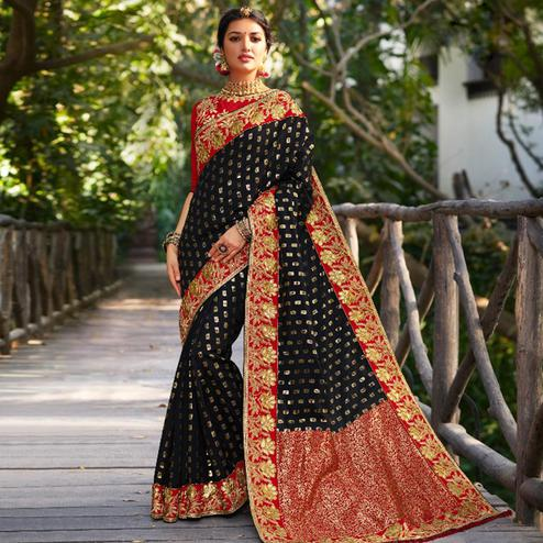 Capricious Black Colored Festive Wear Embroidered Banarasi Silk Saree