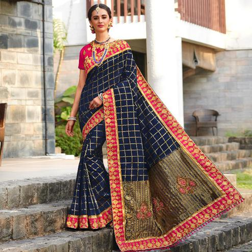 Prominent Navy Blue Colored Festive Wear Embroidered Banarasi Silk Saree