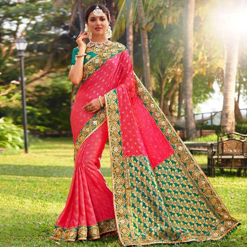Elegant Pink Colored Festive Wear Embroidered Banarasi Silk Saree