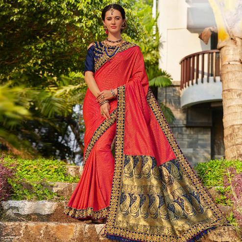 Radiant Coral Red Colored Festive Wear Embroidered Banarasi Silk Saree