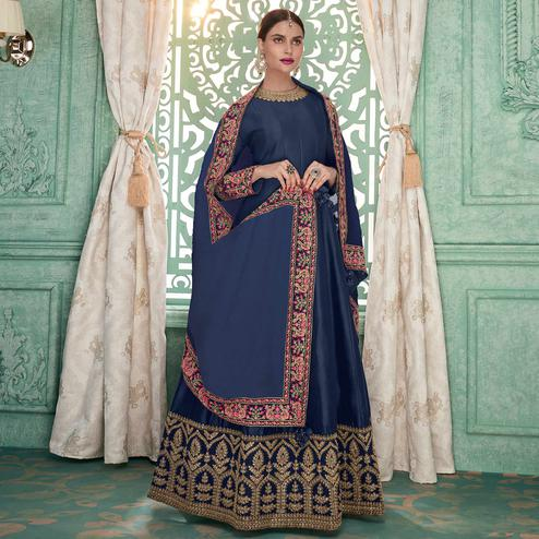 Entrancing Navy Blue Colored Partywear Embroidered Silk Anarkali Suit