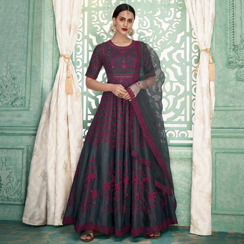 Prominent Blackish Gray-Pink Colored Partywear Embroidered Silk Anarkali Suit
