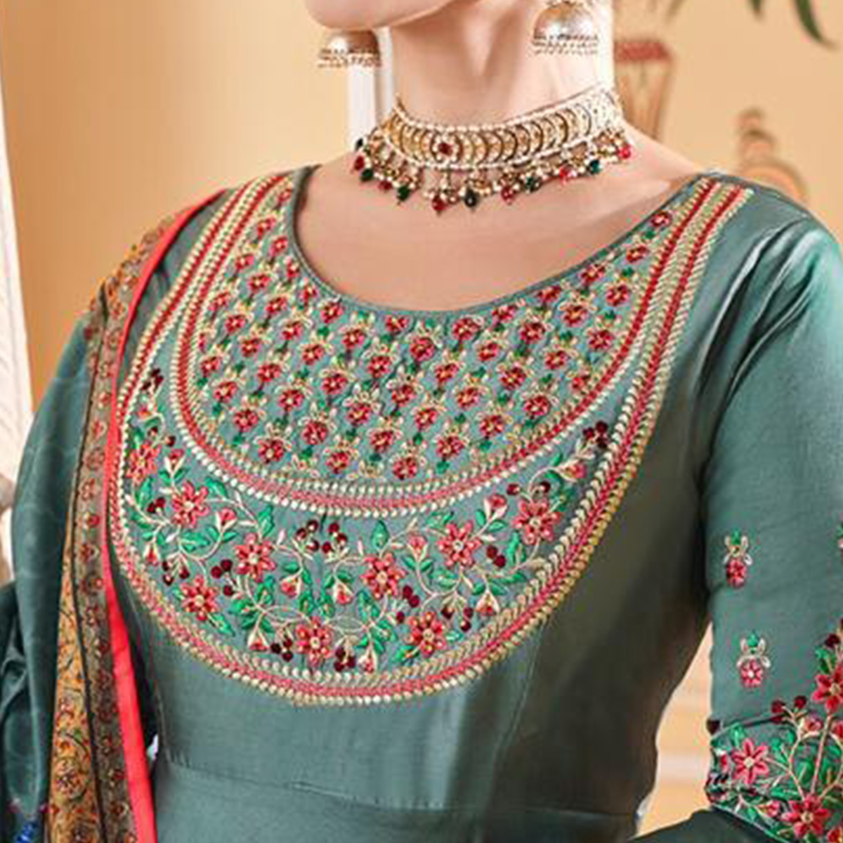 Excellent Rama Blue Colored Partywear Embroidered Silk Anarkali Suit