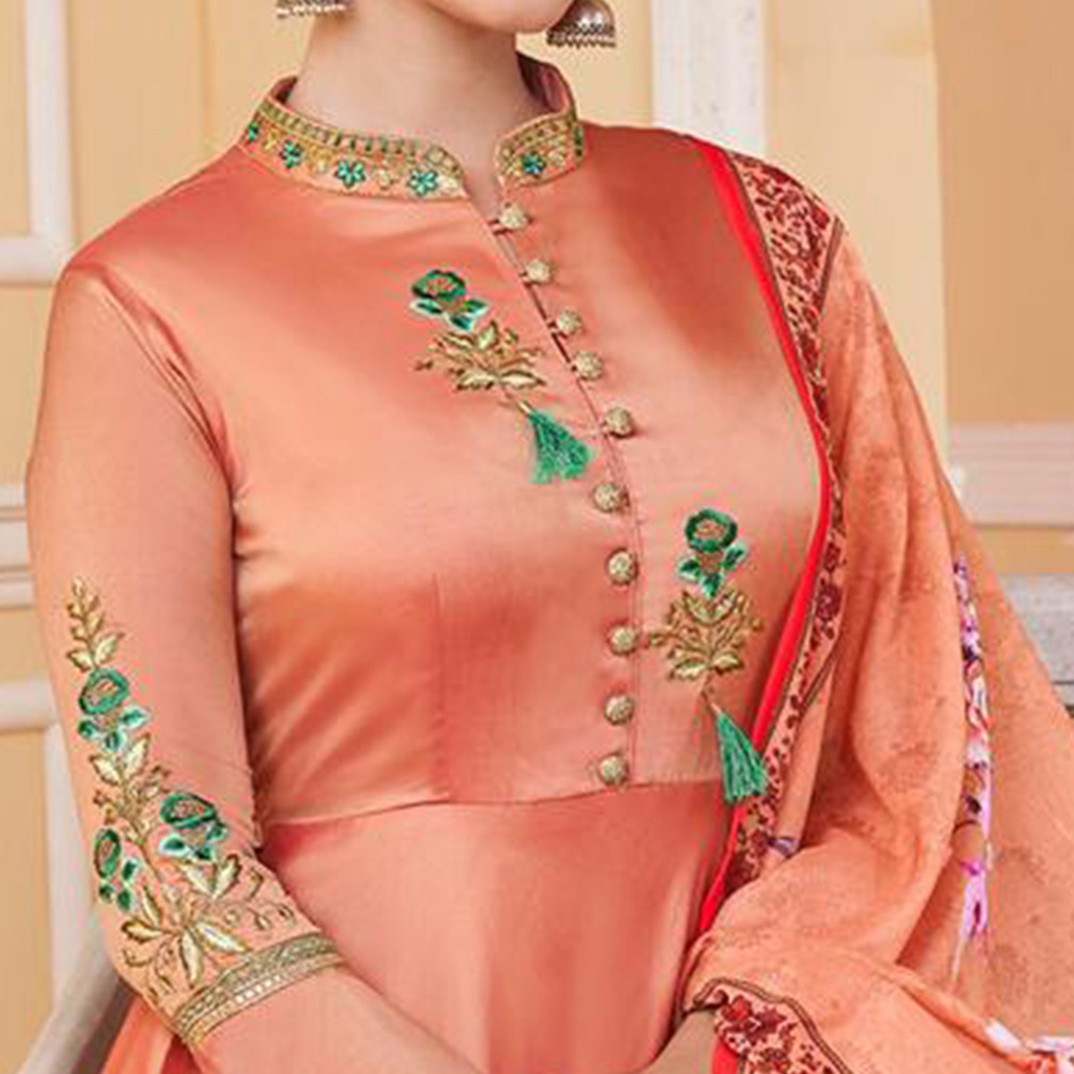 Preferable Peach Colored Partywear Embroidered Silk Anarkali Suit