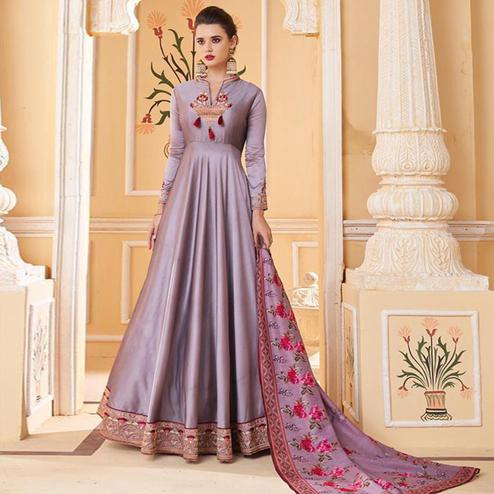Marvellous Light Purple Colored Partywear Embroidered Silk Anarkali Suit