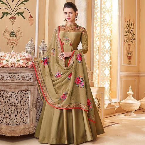 Flamboyant Chiku Colored Partywear Embroidered Silk Anarkali Suit