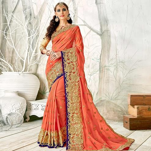 Unique Peach Colored Partywear Embroidered Georgette Saree