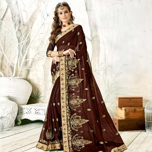 Demanding Dark Brown Colored Partywear Embroidered Georgette Saree