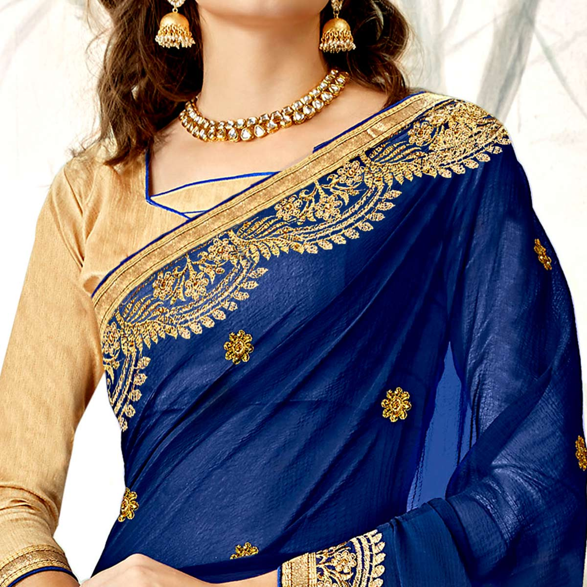 Hypnotic Royal Blue Colored Partywear Embroidered Georgette Saree