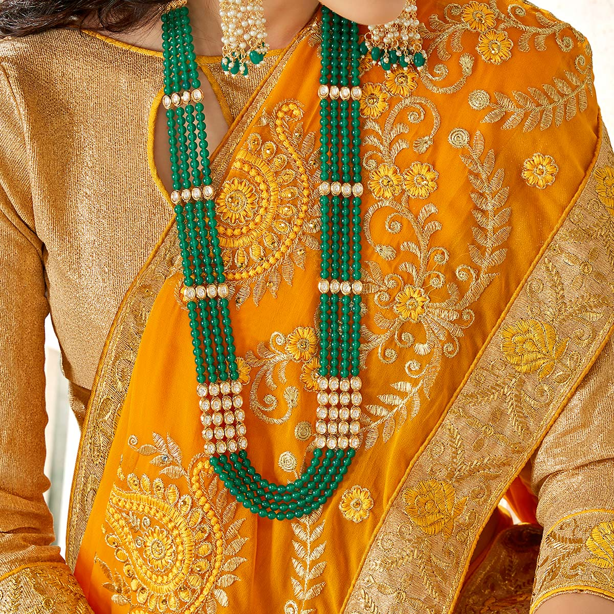 Flattering Mustard Yellow Colored Partywear Embroidered Georgette Saree