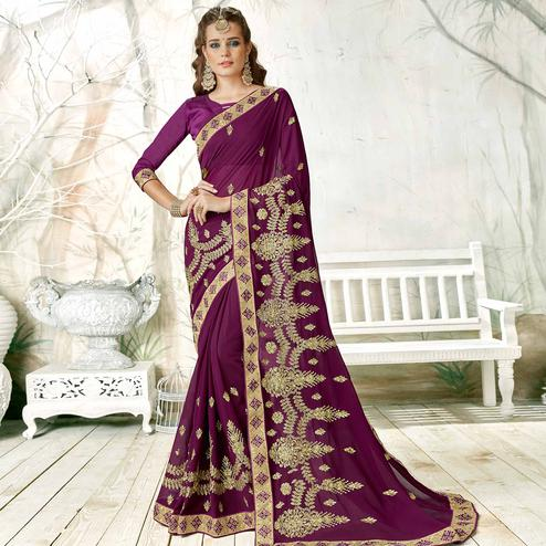 Excellent Purple Colored Partywear Embroidered Georgette Saree