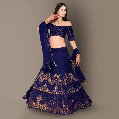 Hypnotic Navy Blue Colored Partywear Embroidered Banglori Silk Lehenga