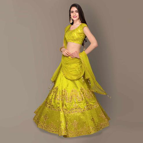 Flattering Lime Green Colored Partywear Embroidered Banglori Silk Lehenga