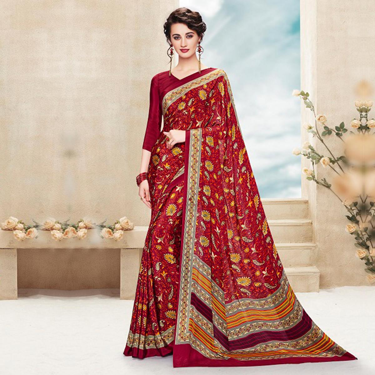 Red Casual Wear Crepe Printed Saree