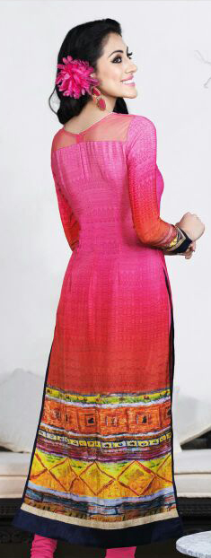 Pink - Red French Crape Suit