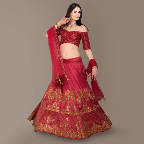 Excellent Red Colored Partywear Embroidered Banglori Silk Lehenga