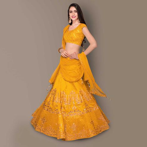 Preferable Yellow Colored Partywear Embroidered Banglori Silk Lehenga