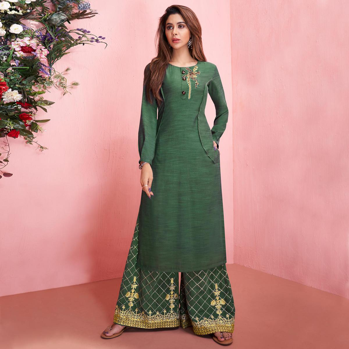 Adorable Green Colored Partywear Embroidered Rayon Kurti-Palazzo Set