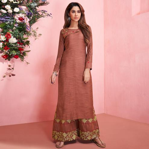 Glorious Brown Colored Partywear Embroidered Rayon Kurti-Palazzo Set