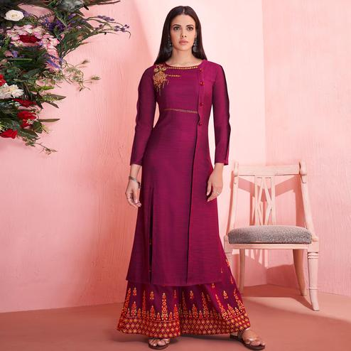 Attractive Magenta Pink Colored Partywear Embroidered Rayon Kurti-Palazzo Set