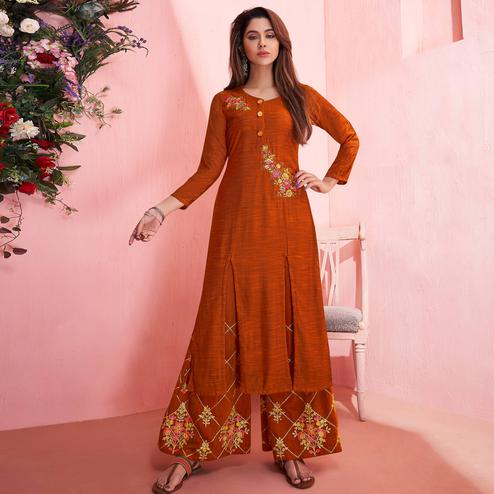Graceful Orange Colored Partywear Embroidered Rayon Kurti-Palazzo Set