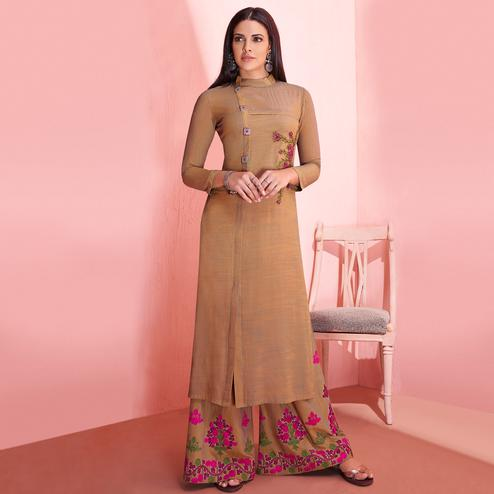 Blooming Beige Colored Partywear Embroidered Rayon Kurti-Palazzo Set