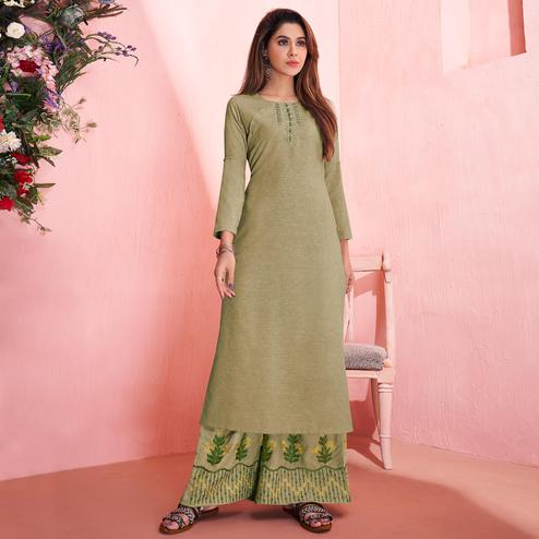 Charming Pastel Olive Green Colored Partywear Embroidered Rayon Kurti-Palazzo Set