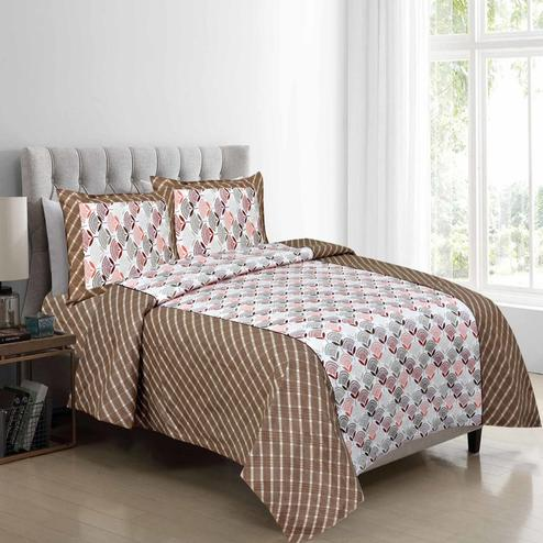 Pleasant Brown Colored Floral Printed Cotton Double Bedsheet With Pillow Cover Set