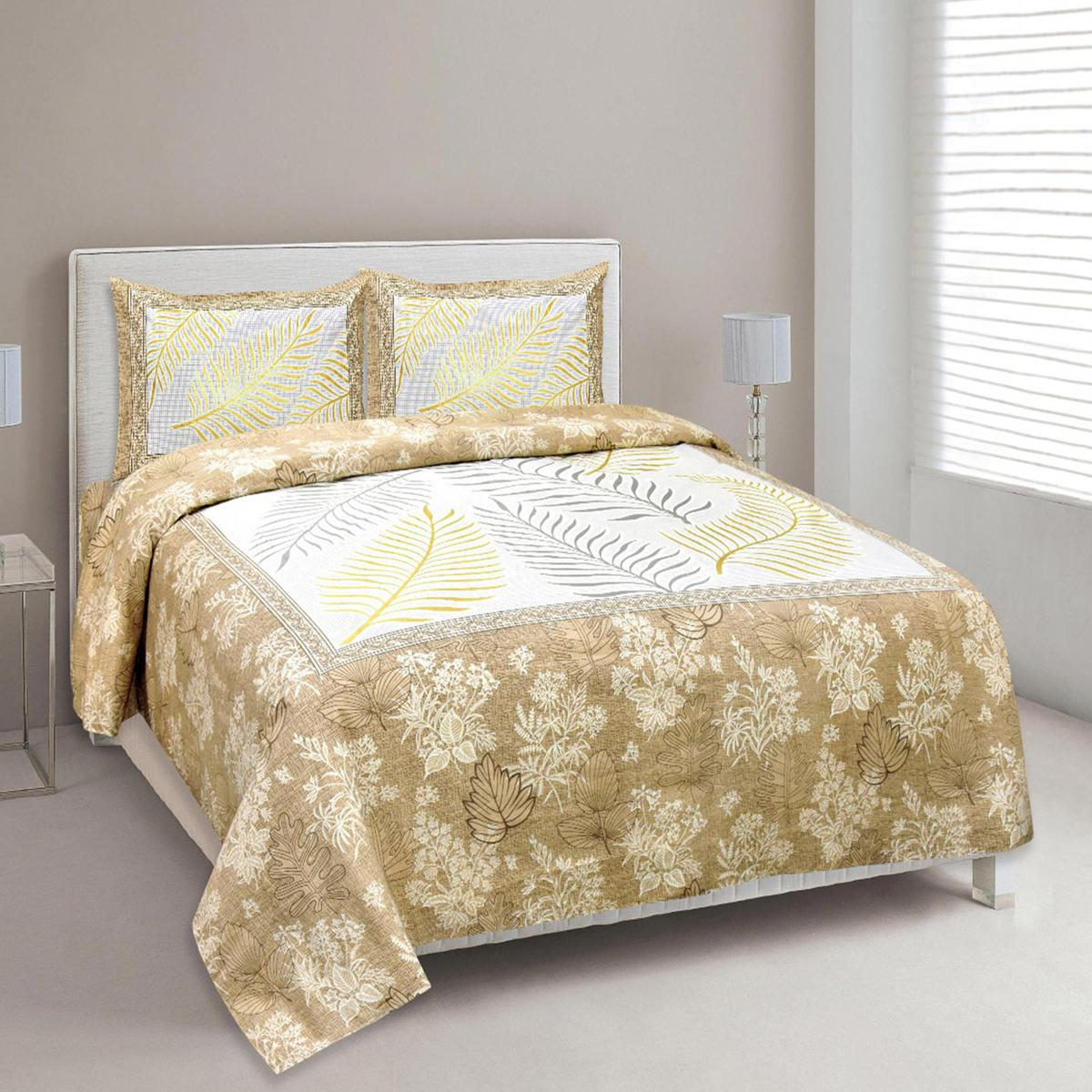 Opulent Beige Colored Floral Printed Cotton Double Bedsheet With Pillow Cover Set