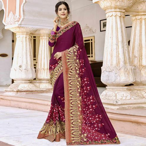 Alluring Purple Colored Party Wear Embroidered Georgette Saree