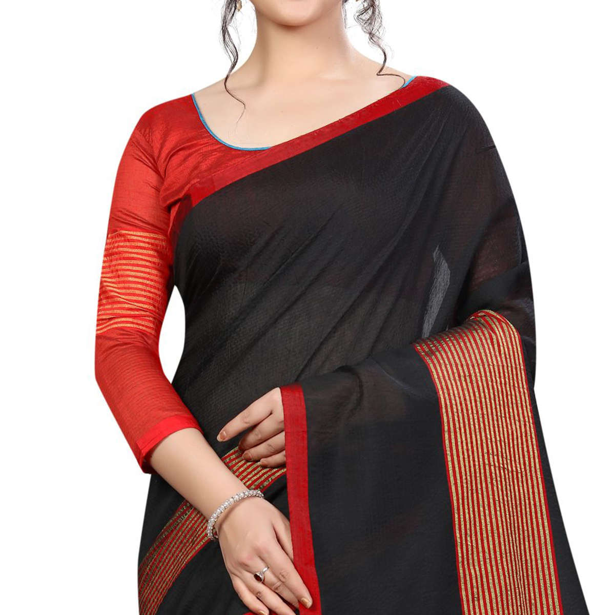 Attractive Black Colored Festive Wear Cotton Saree