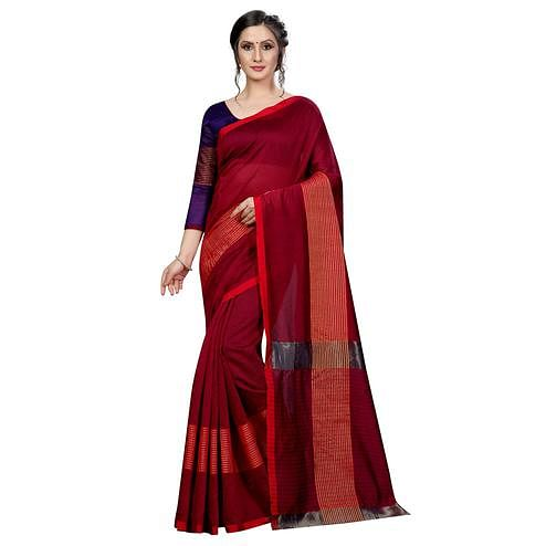 Beautiful Maroon Colored Festive Wear Cotton Saree