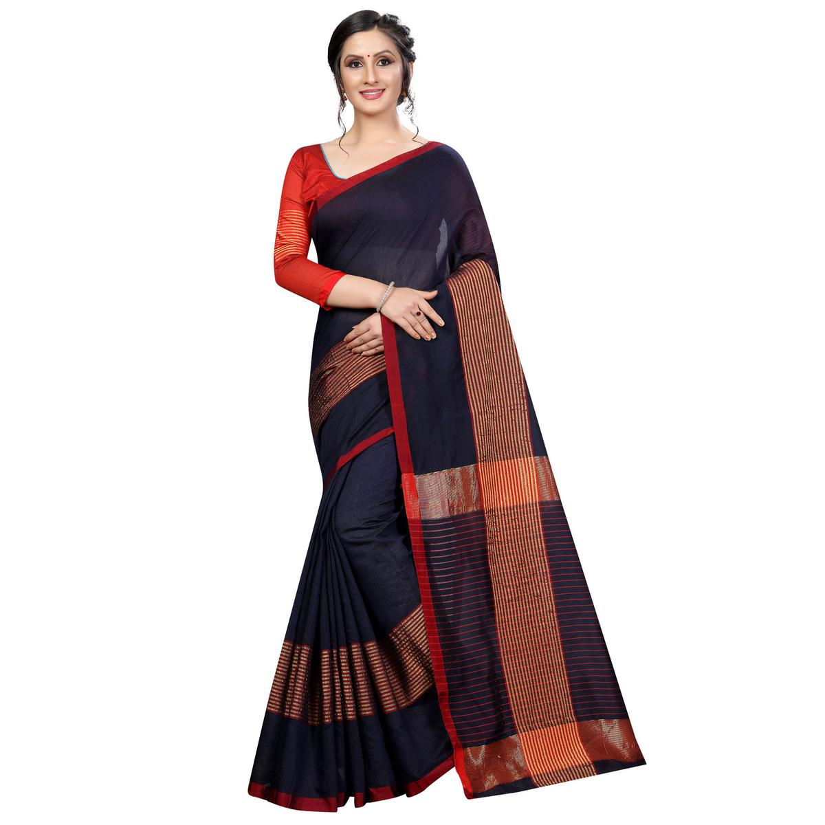 Graceful Navy Blue Colored Festive Wear Cotton Saree