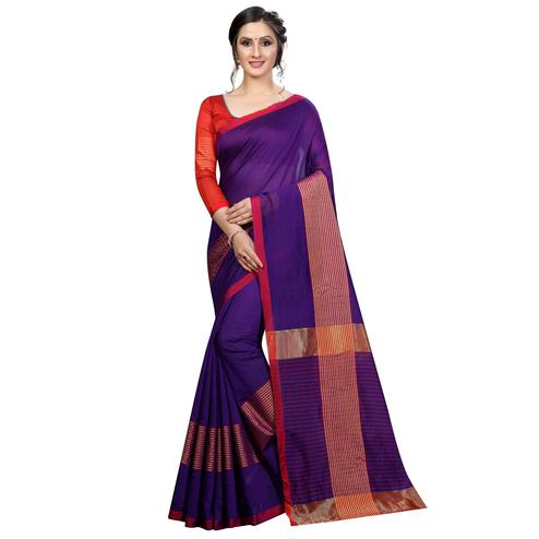 Blooming Purple Colored Festive Wear Cotton Saree