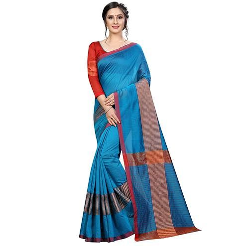 Charming Sky Blue Colored Festive Wear Cotton Saree