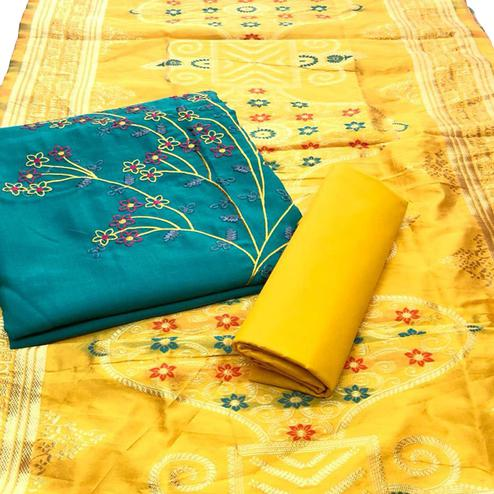 Ideal Aqua Green Colored Festive Wear Embroidered Cotton Dress Material With Banarasi Silk Dupatta