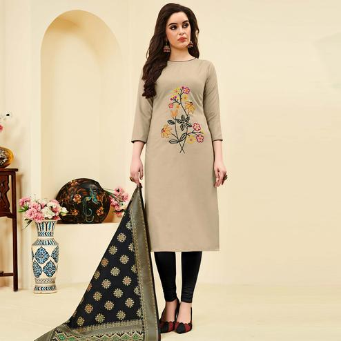 Engrossing Grey Colored Festive Wear Embroidered Cotton Dress Material With Banarasi Silk Dupatta