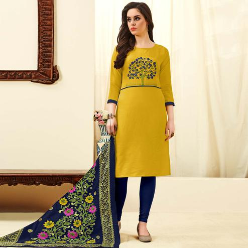 Groovy Yellow Colored Festive Wear Embroidered Cotton Dress Material With Banarasi Silk Dupatta
