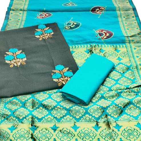 Exotic Olive Green Colored Festive Wear Embroidered Cotton Dress Material With Banarasi Silk Dupatta