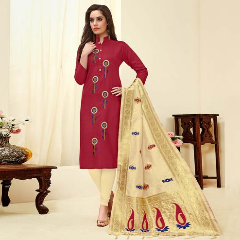 Unique Maroon Colored Festive Wear Embroidered Cotton Dress Material With Banarasi Silk Dupatta