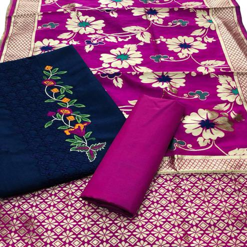 Fantastic Blue Colored Festive Wear Embroidered Cotton Dress Material With Banarasi Silk Dupatta