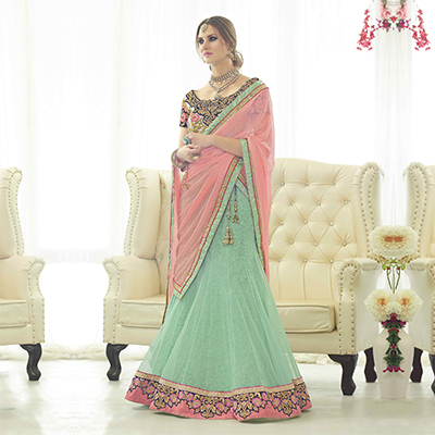 Dusty Green Net Lehenga