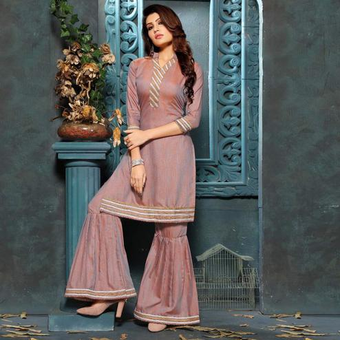 Arresting Mauve Colored Partywear Cotton Kurti-Sharara Set