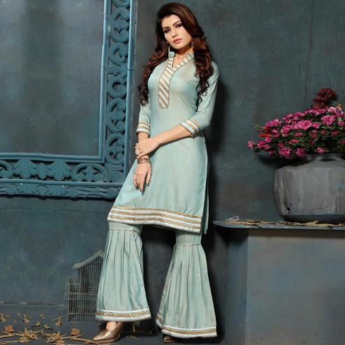 Desirable Teal Grey Colored Partywear Cotton Kurti-Sharara Set
