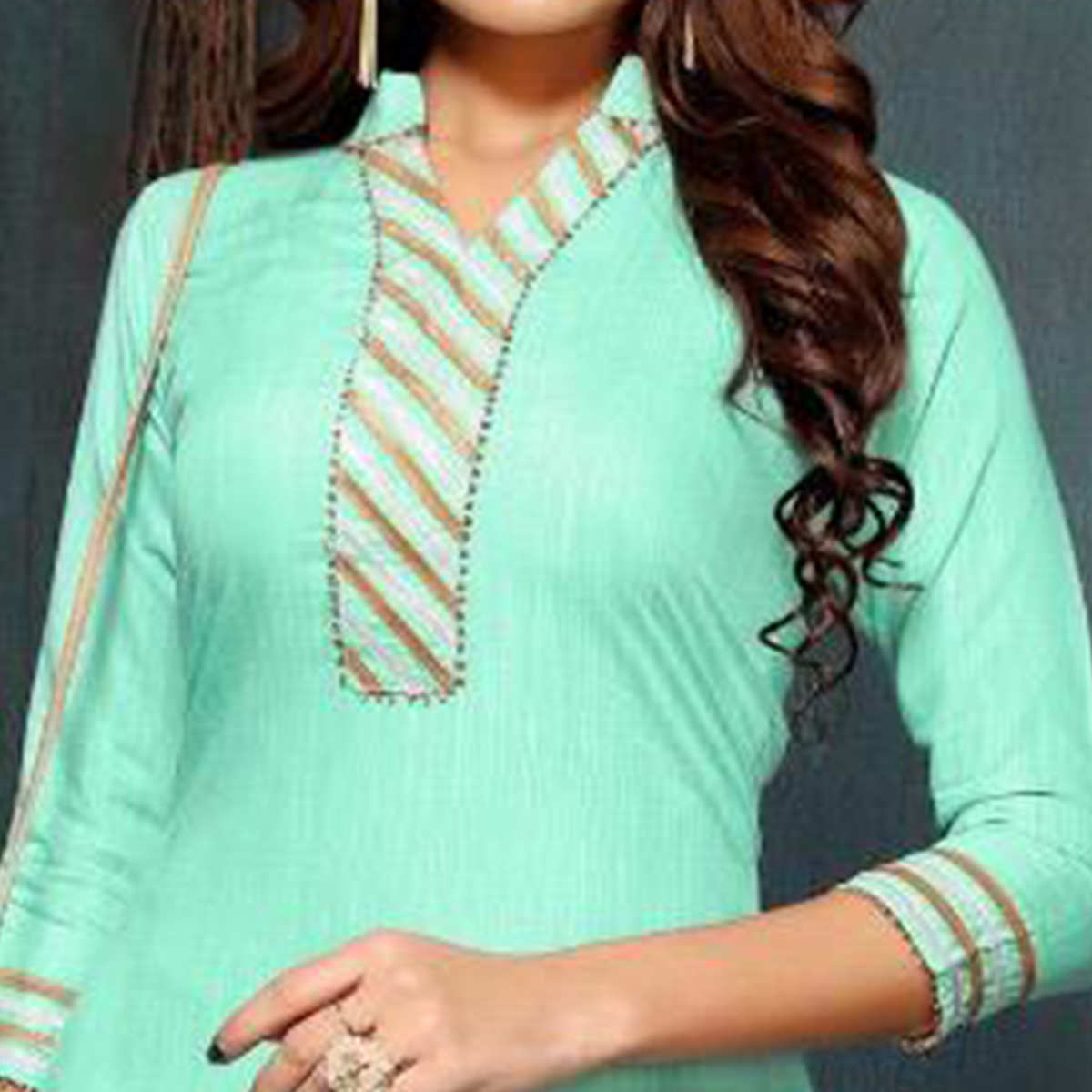 Attractive Aqua Green Colored Partywear Cotton Kurti-Sharara Set